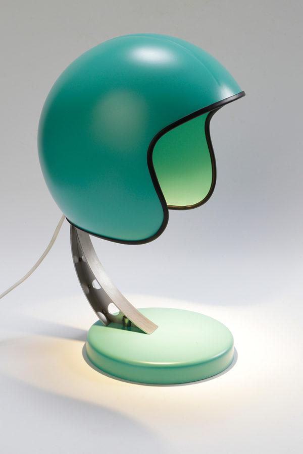 syma design lampe casque moto verte