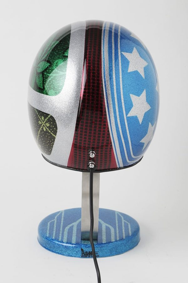 lampe metal flake casque moto syma design
